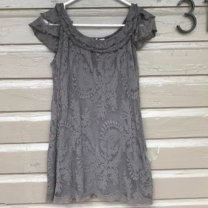 Anthropologie RicRac Lace Overlay Top w Gray Cami